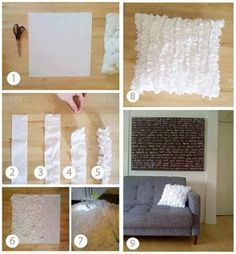Ruffle pillow diy, I like this sooo much! Crafty Craft, Crafty Projects, Diy Projects To Try, Home Projects, Sewing Projects, Crafting, Sewing Pillows, Diy Pillows, Decorative Pillows