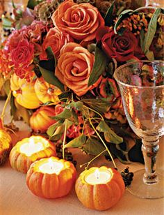 Mini Pumpkins Carved out and used as Votive holders is an absolute beautiful accent to a fall wedding, use small pumpkins in the centerpiece arrangements to give it even more flair.