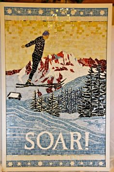 Soar. Fine art stained glass mosaic. Reach high. Great gift for your friends who like to ski and be inspired.. $1,300.00, via Etsy.