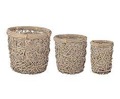 Set de 3 macetas de mimbre Sopia - natural