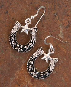 SALE SALE SALE Texas Size Horse Shoe DeSIGNeR Earrings Blingy Rodeo Rhinestone Cowgirl Mixed Metals Sterling Silver Earwires and Silvertone