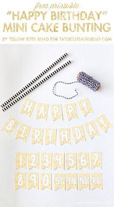 Gold Glitter Mini Cake Bunting Free Printable