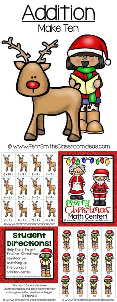 Christmas Addition Make Ten Center Game ~ Quick and Easy to Prep Addition Center Game - Addition - Make Ten Concept with a Cute Christmas Theme #TPT $Paid