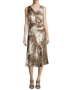 Lafayette 148 New York Sleeveless Printed Dress W/Crisscross Back, Raffia Multi, Women's, Size: 0, Raffia Mul