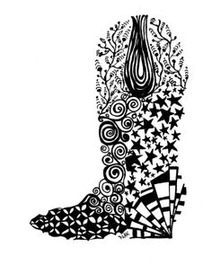 Cowboy boot, pen and ink illustration, black and white,Zentangle, zendoodle, drawing Zentangle Drawings, Doodles Zentangles, Zentangle Patterns, Texas Crafts, Opt Art, Wood Burning Patterns, Illusion Art, Le Far West, Ink Illustrations