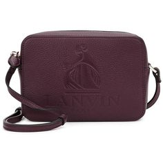 Lanvin Nomad mini bordeaux leather cross-body bag (£795) ❤ liked on Polyvore featuring bags, handbags, shoulder bags, leather crossbody handbags, leather crossbody purses, purple leather purse, leather handbags and leather crossbody