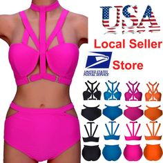 Fashion Women Bikini Set Bandage Push-up Padded Bra High-waist Swimsuit Swimwear #Brandnew #Bikini