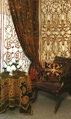 The drapes are very old world as is the decor....Cherie