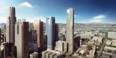 Handel Architects' tower at Angels Landing will be a bookend to the Downtown Los Angeles skyline. Los Angeles Skyline, Downtown Los Angeles, Los Angeles Skyscrapers, Postmodernism, Architect Design, San Francisco Skyline, Facade, Tower, How To Plan