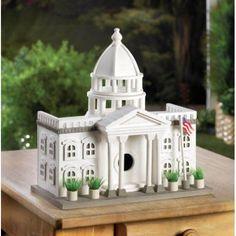 White House Birdhouse Wood Bird Feeder American Flag Pot Plant Yard Garden Dec S #HomeLocomotion