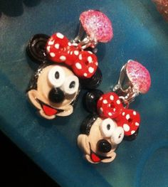 Made by me.Quilling minnie earrings