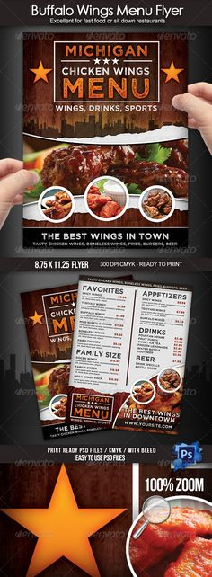 Buy Buffalo Wings Menu Flyer by on GraphicRiver. This is a beautiful menu design for a Buffalo wings restaurant! You can use this flyer to advertise your business and. Restaurant Flyer, Restaurant Menu Design, Seafood Restaurant, Restaurant Recipes, Buffalo Wings Menu, Buffalo Wings Restaurant, Food Menu Design, Food Truck Design, Flyers