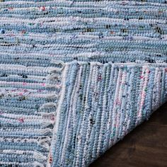 Safavieh Rag Rug Collection Hand Woven Light Blue and Multi Cotton Area Rug x Laundry Room Inspiration, Cotton Textile, Washable Rugs, Rug Material, American Crafts, Accent Rugs, Trendy Colors, Woven Rug, Hand Weaving