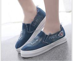 Women Shoes Slip-On casual canvas shoes women platform spring summer women washed denim shoes students shoes