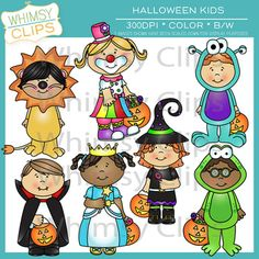 Halloween kids in costumes. This set includes 10 kids in costumes in both color and black and white for a total of 20 image files in both png and jpg. All images are 300dpi. $