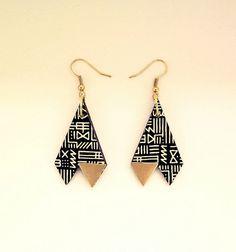 Triangle Tribal Print Black Gold Earrings by RachellovesBob Big Earrings, Drop Earrings, Logo Shapes, Triangle Print, Cool Logo, Tribal Prints, Black Gold, Branding Ideas, Jewels
