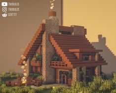 Plantas Do Minecraft, Minecraft Farm, Minecraft Mansion, Minecraft Cottage, Easy Minecraft Houses, Minecraft House Tutorials, Minecraft Castle, Minecraft Plans, Minecraft Decorations