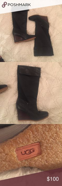 UGG Leather Wedge Boots in black - 7.5 NWOT New UGG Leather Wedge Boots in black, never worn. 7.5 just sitting in storage waiting for a lucky lady to purchase them. Super cute with leggings or skinny jeans. 🚫 trades, fair and reasonable offers entertained. Absolutely no low balling! UGG Shoes