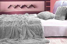 Sivý plyšový prehoz, deka na posteľ Shag Rug, Bean Bag Chair, Bed Pillows, Pillow Cases, Ottoman, Sweet Home, Blanket, Grey, Furniture