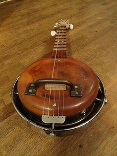 5 String Frying Pan Banjo with Hub Cap Resonator