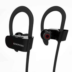 Bluetooth Headphones, KOOWIEN Bluetooth Stereo Wireless Earphones Sports Earbuds Headset for Gym Running Exercise with Hours Play Time, Sweatproof, Secure Ear Hooks Design)- Black Bluetooth Headphones, Bluetooth Gadgets, Sport Earbuds, Running Workouts, Headset, 8 Hours, Hooks, Exercise, Gym