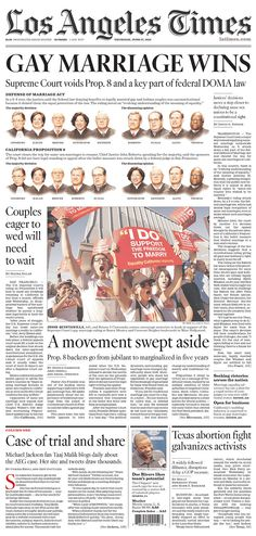 """""""GAY MARRIAGE WINS"""" across the top of the LA Times"""