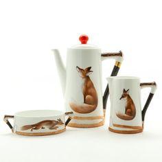 Royal Doulton, Reynard the Fox tea pot, and demitasse.