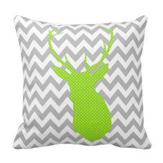 Chevron Green and White Polka Dot Deer Silhouette Throw Pillow