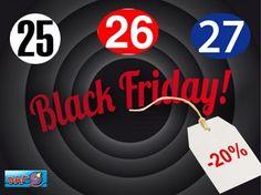 Buenos días!!!Aprovechamos para anunciaros que el fin de semana que viene será nuestro black Friday.-20% dto  en toda nuestra tienda (excepto botas de agua y pares sueltos).Si si habéis oído bien…Pásate y disfruta.