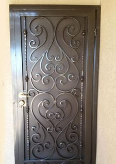 BA Ramirez Iron Works - since San Diego's best value for ornamental wrought iron doors. See photos of our custom wrought iron entry, security & wine cellar doors. Iron Door Design, Wooden Door Design, Wrought Iron Doors, Steel Doors, Metal Door, Iron Decor, Iron Gate Design, Iron Security Doors, Metal Screen Doors