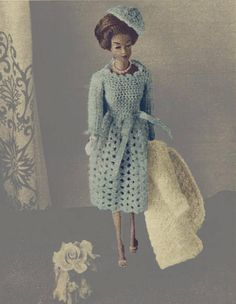 Barbie 2 piece Ensemble Suit Dress Hat and Coat crochet pattern can be found at Etsy shop called YarnPassionDesigns Dress Hats, Barbie And Ken, Handmade Clothes, Crochet Clothes, Knit Crochet, Crochet Patterns, Pdf, Wool, Suits