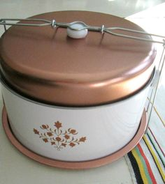 Aluminum Copper Enamel Cake Holder Baked Goods by looseendsvintage