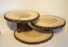 Large wood slice display stand, rustic cake/ cupcake stand, centerpiece 3 slices