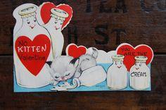 Valentine Days Card ~ Anthropomorphic ~ No Kitten Valentine You Are The Cream ~ Unused ~ Vintage