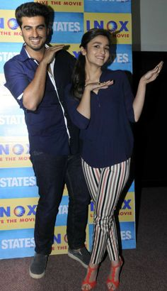 Alia Bhatt and Arjun Kapoor, the stars of 2 States, stepped out in matching shirts to promote their film.
