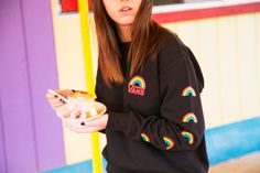 Somewhere over the rainbow: The Make It Rainbow Pullover Crew. Skater Girl Outfits, Skater Girls, Vans Backpack, Cool Outfits, Fashion Outfits, Vans Girls, Custom Vans, Girl Blog, Over The Rainbow