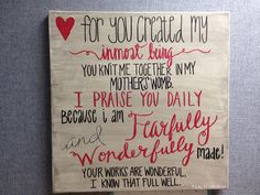 Psalm 1391314 on canvas varies sizes by BiblebyHand on Etsy, $30.00