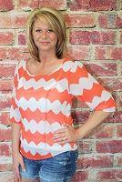 Orange Print Sheer Top w/ Tie