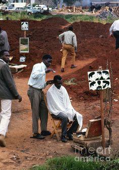 African Barbershop Photograph by Erik Falkensteen Vintage Hair Salons, Rap City, Barber Shop Decor, Barbershop Design, Best Barber, Salon Art, We Are The World, Salon Design, African Hairstyles