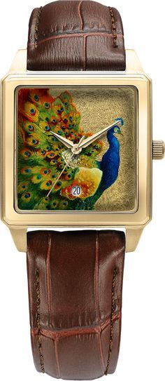 D - Golden Peafowl Peafowl, Swiss Made Watches, Quartz Watches, Make Art, Stainless Steel Case, Unique Gifts, Sapphire, Miniature, Hand Painted