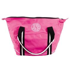 Pink Monogrammed Weekend Tote Bag | Carolina Clover