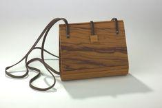 Exklusive Holzhandtasche Olivenholz furniert mit echtem Leder Kunsthandwerk