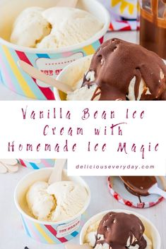 Vanilla Bean Ice Cream with Homemade Ice Magic is simply smooth creamy ice cream with shards of chocolate. Its the chocolate shell topping that makes it a rare special magical treat! Chocolate Lovers, Chocolate Desserts, Frozen Desserts, Easy Desserts, Ice Magic, Chocolate Shells, Vanilla Bean Ice Cream, Homemade Ice, Ice Cream Recipes