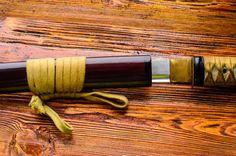 japanese sword katana on wooden background