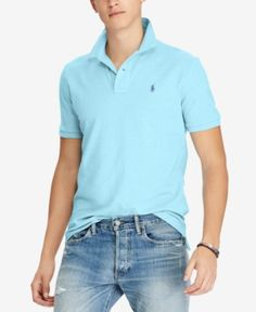 a2e3db99cf6d Polo Ralph Lauren Men s Custom Slim Fit Mesh Polo - Blue L