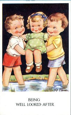 Kit Forres, Boys help girls across water, Regent Written on, unmaile… Vintage Children's Books, Vintage Ephemera, Vintage Cards, Motif Vintage, Images Vintage, Vintage Drawing, Vintage School, Friends Day, Children Images