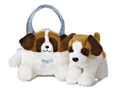 Aurora Plush St. Bernard Puppy Dog Pet Carrier Purse Stuffed Animal Toy 09806 #Aurora