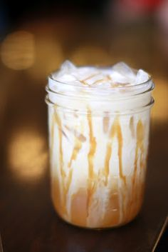 """Iced Caramel Macchiato! Keurig Recipe!  Using your Keurig,  1 16oz MUG, or 16 oz Pyrex Meas Cup You are going to use 2 K Cups 1st take 1 GM Caramel Vanilla Kcup & brew @ med setting into MUG w/o moving Mug, Brew on Low setting a DARK ROAST (decaf if you like) into same mug....set aside. Now, using a tall 16 oz tumbler  BP FREE PLASTIC take caramel topping (sugar free works)  add 1/2"""" to tumbler add 4 oz cream (your choice..fat free works)  add 1 cup ice & then pour your coffee over it all! YUMMY"""