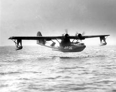 PBY Catalina landing in the water near Naval Air Station Jacksonville, Florida, United States, 1940s.