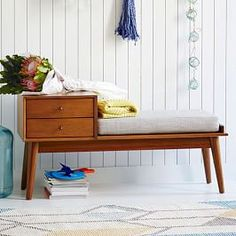 Hit the bench. Our Mid-Century Storage Bench is crafted from FSC®-certified wood, adding modern-day sustainability to its timeless style. With two handy drawers, it works hard in an entryway, mudroom or at the foot of a bed (think mail sor 60s Furniture, Mid Century Furniture, Furniture Design, West Elm Mid Century, Mid Century Console, Entryway Storage, Entryway Bench, Entryway Mirror, Storage Benches